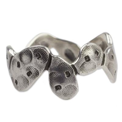Silver band ring, 'Taxco Nopal' - Cactus-shaped Silver Band Ring