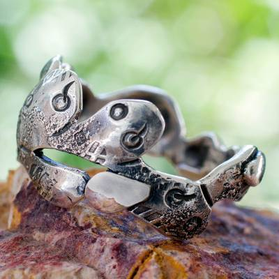 Men's silver band ring, 'Aztec Nopal' - Men's Band Ring Fair Trade Jewelry