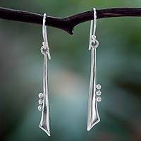 Silver dangle earrings, 'Modern Jazz Duet' - Taxco Silver Earrings