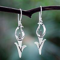 Silver dangle earrings, 'Calla Lily' - Taxco Silver Flower Jewelry