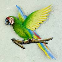 Steel wall art, 'Military Macaw' - Handmade Green Macaw Wall Sculpture