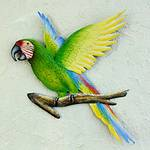 Handmade Green Macaw Wall Sculpture, 'Military Macaw'