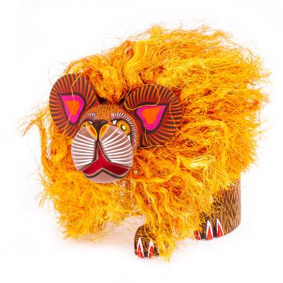 Alebrije sculpture, 'Golden Lion' - Handcrafted Mexican Lion Sculpture from Oaxaca
