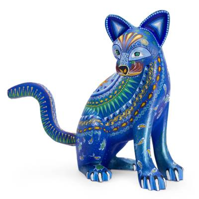 Alebrije sculpture, 'Cat of the Moon and Water' - Mexico Alebrije Mystical Cat Sculpture Oaxaca Folk Art