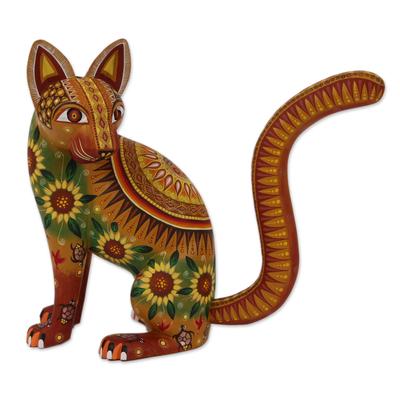 Alebrije sculpture, 'Cat of the Sun' - Mexico Oaxaca Folk Art Alebrije Mystical Cat Sculpture