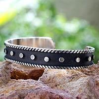 Sterling silver cuff bracelet, 'Domino'