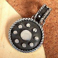 Sterling silver pendant, 'Opposites Attract' - Dark and Polished Taxco Sterling Silver Pendant