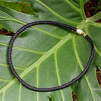 Leather braided necklace, 'Midnight Black' - Hand Braided Black Leather Necklace with Silver Clasp