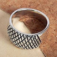 Sterling silver band ring, 'Networking' - Artisan Crafted Taxco Sterling Ring