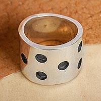 Sterling silver band ring, 'Dalmatian' - Dark and Polished Sterling Silver Band Ring from Mexico