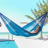 Cotton hammock, 'Huatulco' (double) - Handmade Blue Cotton Maya Hammock from Mexico