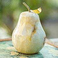 Onyx figurine, 'Tempting Pear' - Natural Onyx Fruit Figurine Sculpture