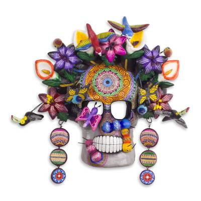 Ceramic mask, 'Frida Kahlo Tribute' - Hand Crafted Frida Day of the Dead Mask from Mexico