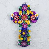 Ceramic wall cross, 'Rainbow Blooms' - Handcrafted Mexican Ceramic Wall Cross Sculpture