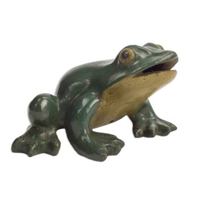 Mexican Burnished Clay Frog-Shaped Incense Holder