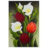 'Tulips and Calla Lilies' - Limited Edition Floral Oil Painting from Mexico