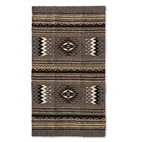 Zapotec wool rug, 'Grey Diamond' (2x3.5)