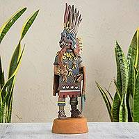 Ceramic sculpture, 'Tlaloc Lord of Rain' - Aztec Hand Crafted Ceramic Replica Sculpture