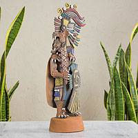Ceramic sculpture, 'Large Jaguar Warrior' - Aztec Warrior Ceramic Replica Sculpture from Mexico