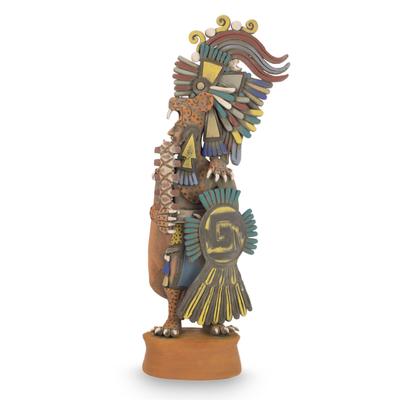 Aztec Warrior Ceramic Replica Sculpture from Mexico