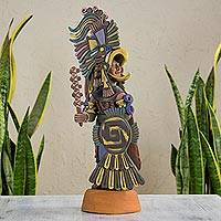 Ceramic sculpture, 'Large Eagle Warrior' - Hand Made Aztec Warrior Ceramic Replica Sculpture