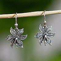 Sterling silver flower earrings, 'Springtime' - Sterling Silver Matte Flower Earrings from Mexico