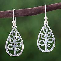 Sterling silver dangle earrings, 'Dewdrop Trees' - Fair Trade Earrings Taxco Sterling Silver Jewelry