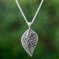 Sterling silver pendant necklace, 'Nature's Majesty' - Fair Trade Necklace Taxco Sterling Silver Jewelry