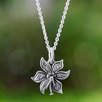Sterling silver flower necklace, 'Springtime' - Hand Crafted Sterling Silver Taxco Flower Pendant Necklace