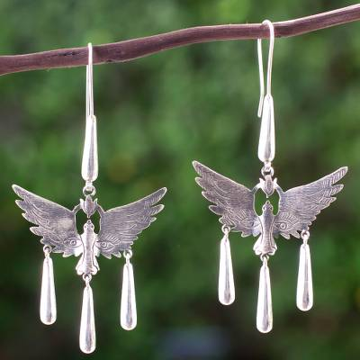 Sterling silver dangle earrings, 'Paloma' - Surreal Sterling Silver Earrings Artisan Crafted Jewelry