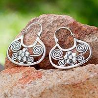 Sterling silver flower earrings, 'Floral Mazahua'