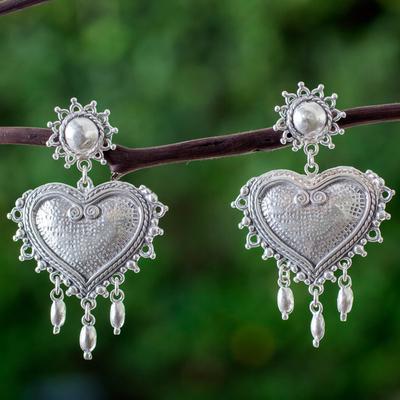 Sterling silver heart earrings, 'Love Waterfall' - Sterling Silver Taxco Heart Chandelier Earrings