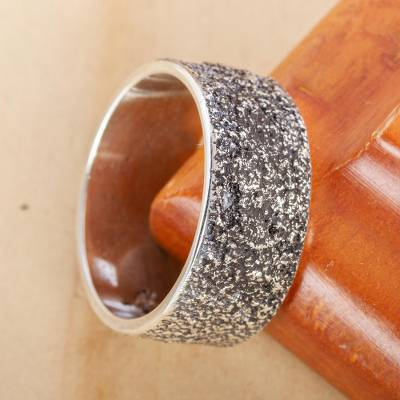 Men's silver band ring, 'Sands of Cuyutlan' - Men's Textured Silver 950 Band Ring from Mexico