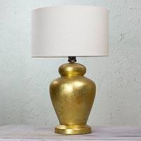 Ceramic table lamp, 'Golden Glimmers' - Golden Hand Crafted Ceramic Table Lamp from Mexico