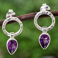Amethyst drop earrings, 'New Era' - Modern Amethyst and Taxco Silver Earrings