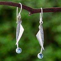 Blue topaz dangle earrings, 'Blue Skies' - Handcrafted Blue Topaz and Taxco Silver Earrings