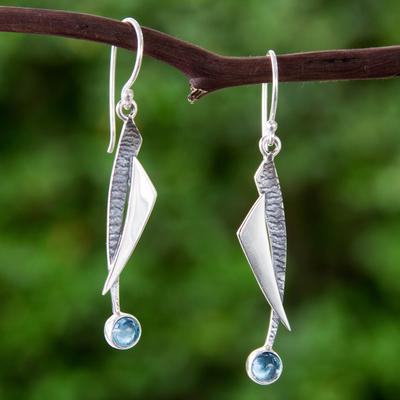 Blue topaz dangle earrings, 'Blue Skies' - Blue Topaz and Silver 950 Earrings Taxco Jewelry