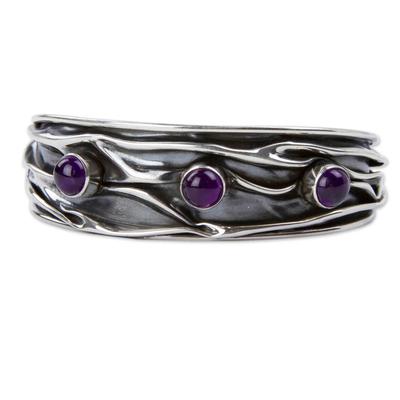 Amethyst cuff bracelet, 'Taxco Dusk' - Amethyst Modern Silver 950 Cuff Bracelet