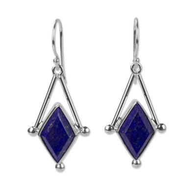 Lapis lazuli dangle earrings, 'Spark of Blue' - Lapis Lazuli and 950 Silver Artisan Earrings