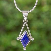 Lapis lazuli pendant necklace, 'Spark of Blue' - Lapis Lazuli and 950 Silver Artisan Necklace