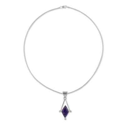 Lapis lazuli pendant necklace, 'Spark of Blue' - Lapis Lazuli and 950 Silver Artisan Necklace