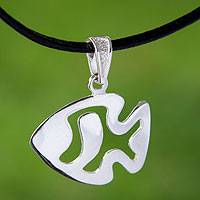 Sterling silver pendant necklace, 'Angelfish' - Modern Silver Fish Necklace with Black Leather Cord