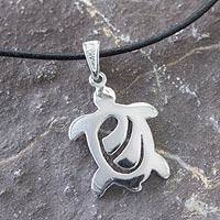 Sterling silver pendant necklace, 'Sea Turtle' - Modern Silver Turtle Necklace with Black Leather Cord