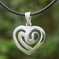 Sterling silver pendant necklace, 'Eternally Yours' - Modern Silver Heart Necklace with Black Leather Cord