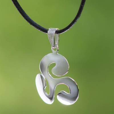 Sterling silver pendant necklace, 'Luck' - Silver Clover Pendant Necklace with Black Leather Cord
