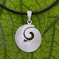 Sterling silver pendant necklace, 'Sleek Spiral' - Silver Spiral Pendant Necklace with Black Leather Cord