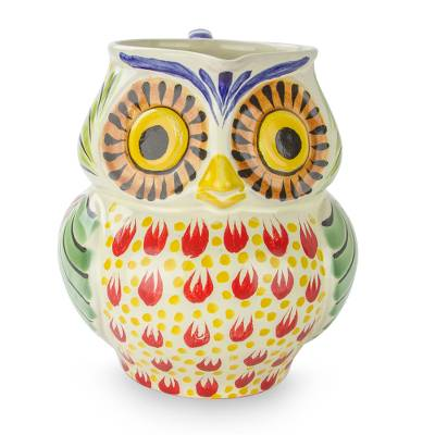 Artisan Crafted Majolica Ceramic Bird Pitcher