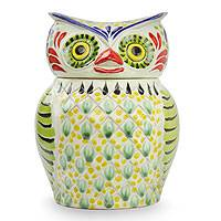Majolica ceramic cookie jar, 'Owl Treats' - Artisan Crafted Majolica Ceramic Bird Cookie Jar