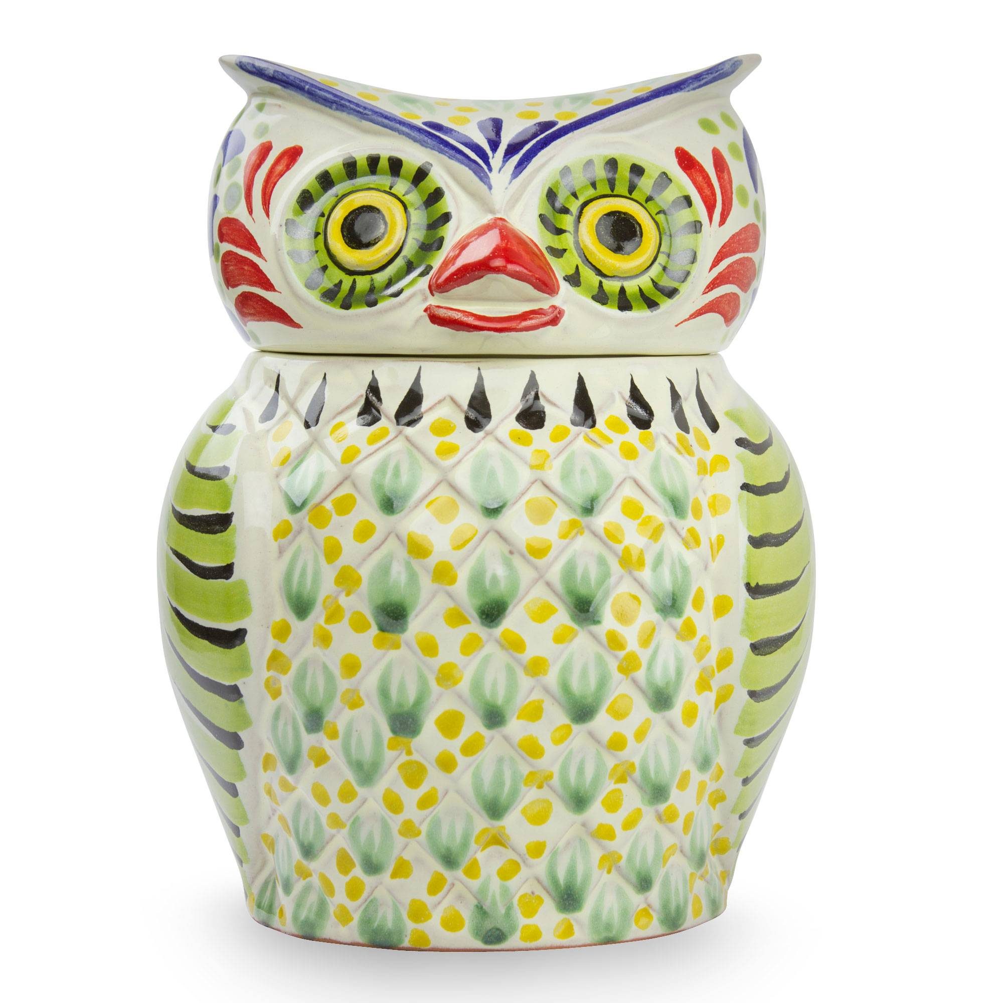 Artisan Crafted Majolica Ceramic Bird Cookie Jar - Owl Treats | NOVICA