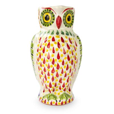 Artisan Crafted Majolica Owl Ceramic Pitcher